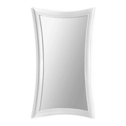 Bassett Mirror - Pearl Hourglass Leaner Mirror - Gloss white finish. 45 in. W x 82 in. H
