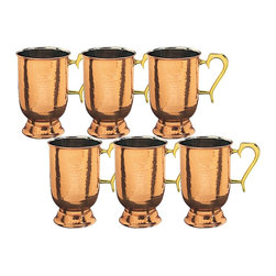 Solid Hammered-Copper Tankards With Brass Handle, Set of 6 - This set of 6 Solid Copper tankards will make you and your crew feel like you're drinking premium brew, even if it's really just cheap domestic.  Handsome hammered steins features solid copper construction with a protective, tarnish-resistant coating, nickel linings and comfortable solid brass handles.
