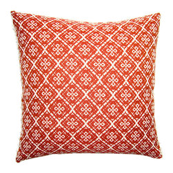 Square Feathers - Lucy Pillow, Lattice Pillow - The sweet lattice pattern on this comfy pillow is reminiscent of traditional Scandinavian design. You could pair two of these with a few other cushions in the same palette for a collected look.