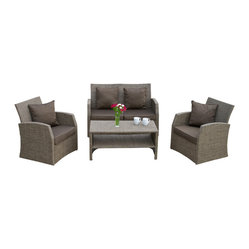 Great Deal Furniture - Roswell Outdoor 4pcs Sofa Seating Set - There is nothing like enjoying the outdoors like having the comforts of the Roswell 4pcs sofa seating set. Constructed from Textilene mesh fabric, a long lasting durable material that is fitting for the outdoors, this set includes two (2) single armchairs, one (1) loveseat and one (1) coffee table. This set includes matching plush cushions that provide a comfortable lounging experience for your guests.