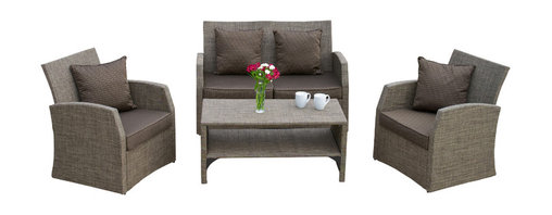 Great Deal Furniture - Roswell Outdoor 4-Piece Sofa Seating Set - There is nothing like enjoying the outdoors like having the comforts of the Roswell 4pieces sofa seating set. Constructed from Textilene mesh fabric, a long lasting durable material that is fitting for the outdoors, this set includes two (2) single armchairs, one (1) loveseat and one (1) coffee table. This set includes matching plush cushions that provide a comfortable lounging experience for your guests.