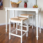 Carolina Cottage - 3 Pc. Bar & Counter Stools Set in Antique Whi - Includes bar table and 2 counter stools. Beautiful 3 step hand finish with rubbed edges for a worn unique look. This bar is as sturdy as it is solid. Legs are made from solid select Asian hardwood stools. Comfortable rush seat. Easy to clean durable finish. Assembly required. Bar: 48 in. L x 24 in. W x 36 in. H (43 lbs.). Counter stools: 16.5 in. W x 16.5 in. D x 24 in. H (10 lbs.). Seat height: 23.75 in. H