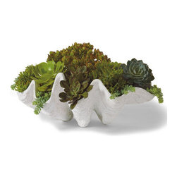 "Grandin Road - Seashell Outdoor Planter - Large (29""W) - This brings back memories of growing up on the Hawaiian islands. If I had a pond in my backyard, I would put this there."