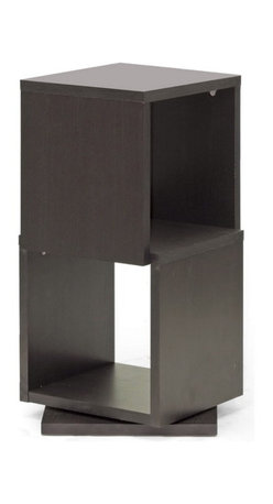 Baxton Studio - Baxton Studio Ogden Dark Brown 2-Level Rotating Modern Bookshelf - With 360 degree swivel and two shelves, the Ogden Designer Bookshelf makes it easy to find the tome you're looking for. Equally fitting for photos and other home decor, this contemporary display shelf is made in Malaysia with dark brown faux wood grain paper veneer over a frame of engineered wood. The Ogden Contemporary Bookshelf requires assembly and is easily cleaned with the swipe of a dry cloth. also available are 3, 4, and 5-level options of the Ogden Bookshelf (each sold separately).