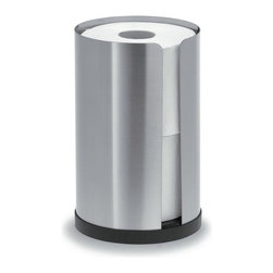 Blomus - Nexio Stainless Steel Toilet Paper Holder - Holds 2 rolls. Made of stainless steel, matte finish. 1-Year manufacturer's defect warranty. 5.33 in. Dia. x 8.7 in. H