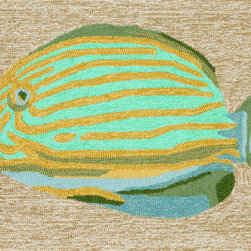"""Trans-Ocean - 20""""x30"""" Frontporch Striped Fish Neutral Mat - Richly blended colors add vitality and sophistication to playful novelty designs.Lightweight loosely tufted Indoor Outdoor rugs made of synthetic materials in China and UV stabilized to resist fading.These whimsical rugs are sure to liven up any indoor or outdoor space, and their easy care and durability make them ideal for kitchens, bathrooms, and porches. Made in China."""