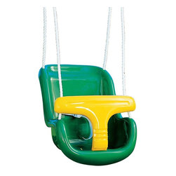Playtime Swing Sets - Playtime Swing Sets Molded Infant Swing with Rope - Green / Yellow - AA929 - 442 - Shop for Swings Slides and Gyms from Hayneedle.com! The Playtime Swing Sets Molded Infant Swing with Rope - Green / Yellow is perfect for little ones to enjoy the fun of a real swing. Made of durable plastic this swing features a comfortable design and a safety T-bar that keeps kids safe and confident. Includes strong nylon ropes for easy swinging.About Creative PlaythingsSince 1951 Creative Playthings has been building wooden swing sets and swing set accessories at their plant in Emporia Virginia. Creative Playthings cares deeply about the lives of American children as well as the livelihood of their American workers and all of their play systems are proudly Made in the USA. Creating beautiful functional children's play sets are not the sole goal at Creative Playthings' headquarters. The mission of Creative Playthings is to introduce exercise build self-confidence and develop the imaginations of young children so that they can grow to be well-rounded teens and adults. And for them that mission starts in the backyard.