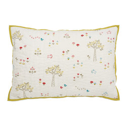 """Auggie - Auggie Rabbit Patch Printed Sham - This sweet forest of flowers, birds, bunnies and mushrooms is a gender neutral favorite which coordinates with Auggie's fern and ocean bedding. 100% cotton. Made in India. L20"""" x W30"""""""