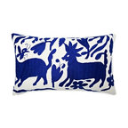 5 Surry Lane - Mexican Hand Embroidered Otomi Blue Pillow - Warm up your sofa or bedding with a colorful throw pillow. The rich and storied pattern originates with the Otomi Indians of Mexico, and is still hand-embroidered by them today. Pick from two sizes and six vibrant colors to complement your well-traveled aesthetic.
