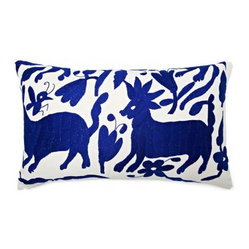 5 Surry Lane - Mexican Hand-Embroidered Otomi Blue Pillow - Warm up your sofa or bedding with a colorful throw pillow. The rich and storied pattern originates with the Otomi Indians of Mexico, and is still hand-embroidered by them today. Pick from two sizes and six vibrant colors to complement your well-traveled aesthetic.
