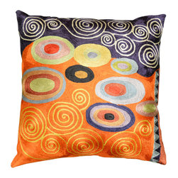 """Modern Silk - Klimt Orange Navy Swirls Decorative Pillow Cover Hand Embroidered 18"""" x 18"""" - Klimt Orange Navy Swirls Decorative Pillow Cover hand embroidered – The motif in this modern pillow cover brings to mind not only Klimt's famous 'Tree of Life' painting, but also Kandinsky's colorful concentric circles. A delightful depiction of abstract modern art, this pillow cover design is chain stitched with art silk thread into a meta-motif of the soul approaching the tree of life. Since the 15th century, Kashmiri artisans have produced the finest chain stitch crewel work in the world including modern abstract pillows. This festive cushion cover belongs in your home, defining your décor."""