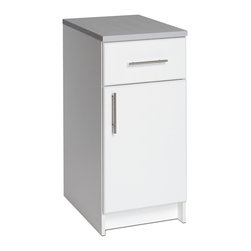 """Prepac - Prepac Elite 16 Base Cabinet - The 16"""" Base Cabinet combines the storage of a 20 inch long drawer and the versatility of a door that can be easily mounted to open left or right. The heavy duty drawer has a half-inch thick bottom and metal sides that roll on smooth roller glides, making it perfect for storing heavy duty items like tools. The cabinet includes one adjustable shelf and 1"""" thick worktop. Customizable, functional and durable, it coordinates perfectly with other pieces in the Elite Collection."""