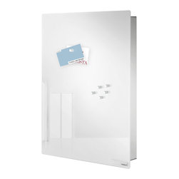 Blomus - Velio Stainless and Glass Magnet Board, White, Large - Velio Stainless Steel and Glass Magnet Board by Blomus has an added benefit of hiding and organizing 7 key rings with the small size and 14 key rings with the large size. The magnet board includes 6 strong magnets and mounting hardware. Choose Black or White