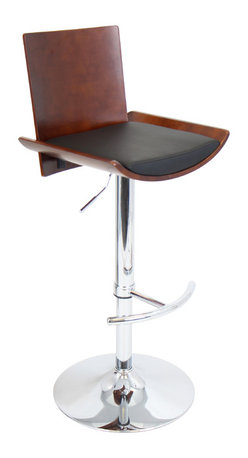 "Lumisource - Vittorio Bar Stool, Cherry + Black Matte Pu - 17.5""L x 18""W x 38.25-43.25""H"