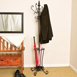 Wildon Home � - Iron Coat Rack with Umbrella Stand - The rustic and graceful styling of this classic coat and umbrella rack makes it an attention-grabber with endless functional uses. Store and hang all of your all of your hats, coats and umbrellas, keeping them organized and within arm's reach. Features: -Four hooks for hanging hats.-Tubular steel and solid iron frame in black finish with gold accents.-Distressed: No.Dimensions: -71.75'' H x 14.5'' W x 13.75-14'' D, 24 lbs.-Overall Product Weight: 24 lbs.