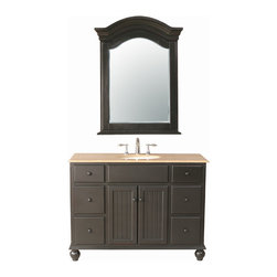 "48"" Alvina Single Sink Vanity With Travertine Marble Top and Mirror - A contemporary take on classic design, the 48"" Alvina Single Sink Vanity enhances any space, from traditional to modern. The sleek lines of the dark brown cabinet are a harmonic blend with the creaminess of the Travertine Marble Top. Six utility drawers and a double cabinet offer ample storage, while the included mirror helps you create cohesive styling in  your bathroom space."