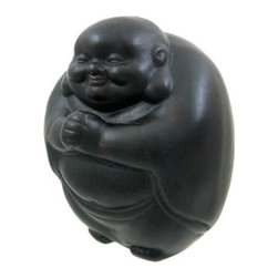 Happy Buddha Hand Painted Ceramic Statue - This beautiful hand painted Happy Buddha statue is finished with dark brown enamel to accent the detail of this wonderful piece. The statue measures 9 inches tall, 6 3/4 inches wide and 7 inches deep. It looks great in living rooms, offices, bedrooms, even in kitchens.