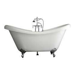 "Baths of Distinction - Hotel Collection 67"" Double Slipper Clawfoot Bathtub/Faucet Package - Package consists of an elegant 67 double slipper claw foot bathtub along with hardware including faucet with handheld shower, drain with lift off stopper, straight supply lines and claw feet all in chrome.  Bathtub is made of CoreAcryl acrylic with a resin/powdered stone filler.  Bathtub has a built in aluminum hear barrier within the tub body."