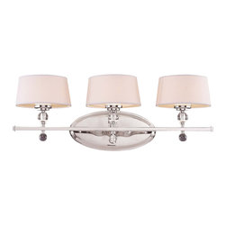 Savoy House - Savoy House Murren Bathroom Lighting Fixture in Polished Nickel - Shown in picture: A Transitional look - combining the best of Traditional and Contemporary styles - with a cleaner - less ornamented design. The Polished Nickel finish works well with the hardback white fabric shades. This versatile family includes a rod hung three light trestle and an assortment of incredibly unique pendants and bath bars.