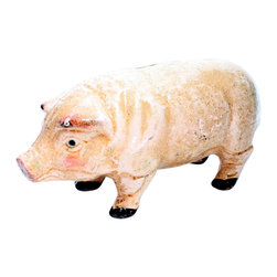 HomArt - Cast Iron Petunia the Pig Sculpture - Decorate your home with the Cast Iron Petunia the Pig Sculpture. Made from cast iron in a distressed white and pink finish, this pig sculpture makes a charming addition to both outdoor and indoor spaces. Display it alongside other farmhouse elements for a cohesive look.
