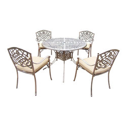 Oakland Living - 5-Pc Dinning Set - Includes table, four stackable chairs with cushions and metal hardware. Traditional lattice pattern and scroll work. Handcast. Hardened powder coat. Fade, chip and crack resistant. Warranty: One year limited. Made from rust free cast aluminum. Antique bronze finish. Minimal assembly required. Table: 42 in. Dia. x 29 in. H (44 lbs.). Chair: 23 in. W x 22 in. D x 35.5 in. H (25 lbs.)The Oakland Mississippi collection combines grace style and modern designs giving you a rich addition to any outdoor setting. We recommend that the products be covered to protect them when not in use. To preserve the beauty and finish of the metal products, we recommend applying an epoxy clear coat once a year. However, because of the nature of iron it will eventually rust when exposed to the elements.