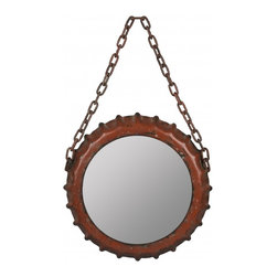 """Cooper Classics - Cimarron Glossy Red Rectangular Mirror - Aged Red Finish Frame Dimensions: 9""""W X 13.5""""H X 1.5""""D; Finish: Aged Red; Material: Metal; Beveled: No; Shape: Round; Included: Brackets, Ready to Hang"""