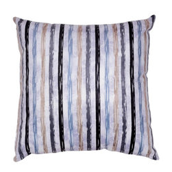 Cortesi Home - Dewey Accent Pillow - The Dewey pillow in a soft velveteen fabric features blue, black, gray, & taupe colors in its striped design. Pillow cover is washable and features a hidden zipper. Inside, the pillow fill is overstuffed for added comfort and durability. Quantity of 1.