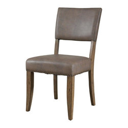 Hillsdale - Parson Dining Chair - Set of 2 - Includes 2 chairs. Rustic desert tan wood finish with a dark grey metal. The parson's stool is traditional in design and combines the rustic desert tan finish with the brown faux leather seat.
