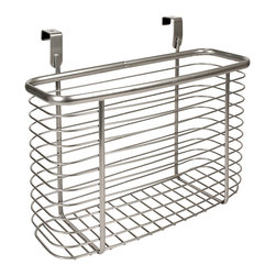 InterDesign - Silver Axis Over-the-Counter Deep Basket - Organize everything that gets stashed door-side with this sleek over-the-counter basket. It's the perfect size for laundry detergent, magazines and other household items.   11.2'' W x 9.6'' H x 5.2'' D Chrome / steel / wire Wipe clean Imported