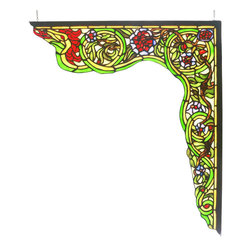 Meyda - 22 Inch W x 23.5 Inch H Serpent Right Corner Bracket Windows - Color theme: Beige Flame Green Purple/Blue HA