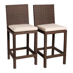 International Home Miami - Monza Barstools Set of 2 - These two wicker bar stools will make you want to enjoy your patio year-round. Sturdy aluminum frames, synthetic weatherproof wicker and water-resistant polyester cushions provide you with durable, comfortable backyard seating.