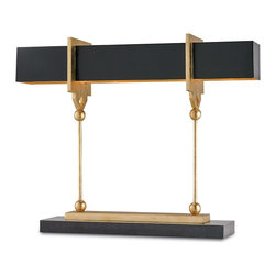 Currey & Company - Apropos Large Table Lamp - Hollywood chic and refinement are at the heart of this glitzy and substantial table lamp. Satin Black and Contemporary finishing adorn the all metal lamp making a bold statement. The Apropos Table Lamp is available in a large, two light version and a smaller, one light version.