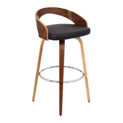 "Lumisource - Grotto Barstool Walnut + Brown - 17""L x 19""W x 35.5""H"