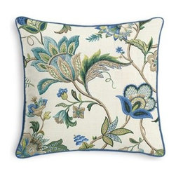 Blue Jacobean Floral Custom Throw Pillow - Black and white photos, Louis XIV chairs, crown molding: classic is always classy. So it is with this long-time decorator's favorite: the Corded Throw Pillow. We love it in this sophisticated Jacobean floral in bright classic shades of blue. Perfect for the new traditionalist.