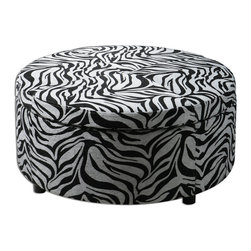 Uttermost - Zea Zebra Storage Ottoman - Generous Storage With Padded, Lift-off Top Suitable For Extra Seating. Wooden Frame With Zebra Patterned Tapestry And Espresso Wooden Feet.