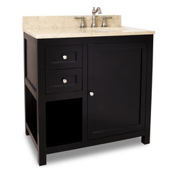 """Hardware Resources - Elements Bathroom Vanity - This 36"""" wide solid wood vanity features clean lines with a stepped door and drawer profile for a modern look. The deep Espresso finish and satin nickel hardware complement the modern look. A large cabinet with an adjustable shelf, offset bank of fully functional drawers and open shelf provide ample storage. Drawers are solid wood dovetailed drawer boxes fitted with full extension soft close slides and the cabinet features integrated soft close hinges . This vanity has a 2.5 cm engineered Emperador Light marble top preassembled with an H8810WH (17"""" x 14"""") bowl, cut for 8"""" faucet spread, and corresponding 2 cm x 4"""" tall backsplash. Overall Measurements: 36"""" x 22"""" x 36"""" (measurements taken from the widest point) - Faucet must be purchased separately."""