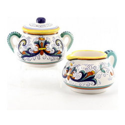 Artistica - Hand Made in Italy - RICCO DERUTA: Creamer and Sugar Bowl set - RICCO DERUTA: This product is part of the renown Ricco Deruta Collection.