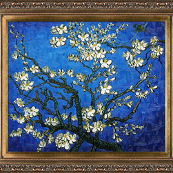overstockArt.com - Van Gogh - Branches Of An Almond Tree in Blossom (Sapphire Blue) Oil Painting - Designed by Amit Yaari this is a hand painted oil interpretation of famous Van Gogh painting Branches of an Almond Tree in Blossom. The original masterpiece was created in 1890. Van Gogh created this painting as a gift for his newborn nephew. The way he made is brush strokes were fitting to the baby because he combined a sense of fragility and energy. A joyous and hopeful image for the child's future. Vincent Van Gogh's restless spirit and depressive mental state fired his artistic work with great joy and, sadly, equally great despair. Known as a prolific Post-Impressionist, he produced many paintings that were heavily biographical. This work of art has the same emotions and beauty as the original. Why not grace your home with this reproduced masterpiece? It is sure to bring many admirers!