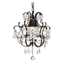Gallery - Gallery T40-429 Wrought Iron 1 Light 1 Tier Crystal Mini Chandelier with Clear C - Features: