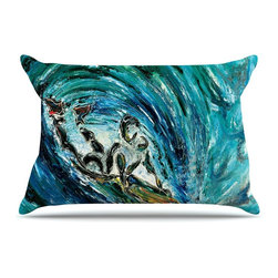 """Kess InHouse - Josh Serafin """"Sponge"""" Blue Teal Pillow Case, Standard (30"""" x 20"""") - This pillowcase, is just as bunny soft as the Kess InHouse duvet. It's made of microfiber velvety fleece. This machine washable fleece pillow case is the perfect accent to any duvet. Be your Bed's Curator."""