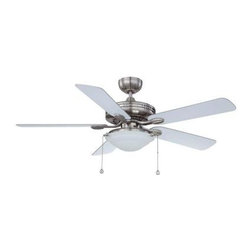 Designers Choice Collection - Indoor Ceiling Fans: Designers Choice Collection 52 in. Satin Nickel Ceiling Fan - Shop for Lighting & Fans at The Home Depot. This Designers Choice Collection 52 in. Ceiling Fan is popular among Builders for its quality and value. A Satin Nickel finish is accompanied with reversible Silver or White Switch-Blades to best suit your decor. Also included is a 3 x 60 watt frost White glass bowl style light kit.