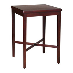 HomeStyles - Pub Table in Cherry - You will love the solid construction and classic lines of this wood pub and bar table. Its solid wood construction is sturdy and durable and accented with such details as top side moldings, an x shaped support base, and stylishly straight legs. This cherry finished wood table is a classic design that will complement a casual or formal space. The rich, warm cherry finish of this attractive square wood bar table is sure to enhance any part of your home. Its cherry finish is rich and dark and you will find that it blends in with a wide variety of color schemes and decors. * Contemporary style. Square shaped. Clean lines. X-shaped support base. Stylish straight legs. Stylish veneered table top. Clear coat finish helps to guard against wear from normal use. Made from Asian hardwood. Made in Thailand. 30 in. W x 30 in. D x 42.25 in. H. Assembly instructions