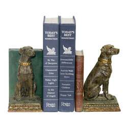 Sterling Industries - Sterling Industries 91-2629 Sterling Pair Chocolate Lab Bookends - Dogs Have Long Been Considered To Be Lifelong Companions To Humans And Man'S Best Friend. For The Dog Lover In Your Life, Why Not Gift Them A Pair Of These Chocolate Lab Bookends By Sterling. These Will Add A Nice Decorative Touch Sitting On A Book Shelf In Your Home Office, Library, Den, Or Family Room. Each Bookend Features A Replica Of An Antique Leather Bound Book, One In Red The Other In Green, Along With The Labrador That Sits Regally On A Square Base. These Bookends Stand 7 Inches Tall X 9.5 Inches Long X 3.5 Inches Wide. Sold As A Pair.  Bookend (2)