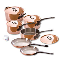 Mauvel M'Heritage 150c 10 Piece Copper Cookware Set - The Mauviel M'Heritage 10 piece cookware set allows you to cook with unsurpassed heat conductivity and control thanks to it̥s 90% copper  10% stainless steel construction.  The M̥150c collection features classic cast iron handles  stainless rivets  a polished copper exterior  and an 18/10 stainless interior.  The cookware has a thickness of 1.5 mm  and the copper exterior allows for superior heat conduction and control.  The M'Heritage collection represents the total experience and heritage of Mauviel 1830.  Set includes      1.9 qt Saucepan (6410.17)   1.9 qt Saucepan Lid   3.2 qt Saut�_ Pan (6411.25)   3.2 qt Saut�_ Pan Lid   3.6 qt Saucepan (6410.21)   3.6 qt Saucepan Lid   8.6 in Frypan (6413.22)   10.2 in Frypan   6.4 qt Stew Pan (6431.25)   6.4 Stew Pan Lid   Copperbrill Cleaner     Product Features      Bilaminated copper stainless steel - 90% copper and 10% 18/10 stainless steel   Copper cookware heats more evenly and much faster than other metals  and offers superior cooking control   1.5 mm thickness   18/10 stainless steel interior preserves the taste and nutritional qualities of foods and is easy to clean   Mauviel M'150c cookware can be used on gas  electric  halogen stovetops  and in the oven. It can also be used on induction stovetops with Mauviel's induction stove top interface disc (sold separately)   Mauviel cookware is guaranteed for life against any manufacturing defects (Warranty not valid for commercial use)   Made in France