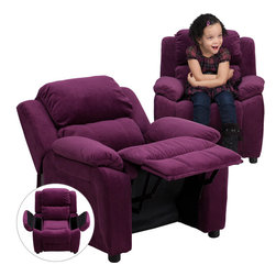 Flash Furniture - Flash Furniture Deluxe Heavily Padded Contemporary Purple Microfiber Recliner - Kids will now be able to enjoy the comfort that adults experience with a comfortable recliner that was made just for them! This chair features a strong wood frame with soft foam and then enveloped in durable microfiber upholstery for your active child. Choose from an array of colors that will best suit your child's personality or bedroom. This petite sized recliner features storage arms so kids can store items away and retrieve at their convenience. [BT-7985-KID-MIC-PUR-GG]