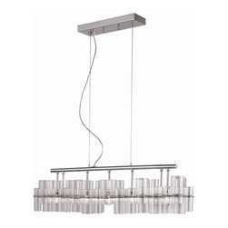 """Transglobe - Class Votive 5-lt Pendant - Rectangle fixture measures: 8"""" wide x 34.25"""" long and adjustable in height from 12"""" semi-flush or lower 96"""""""
