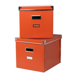 Jon Karlsson - KASSETT Magazine box with lid - Magazine box with lid, orange