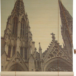Oriental Furniture - St. Patrick's Cathedral Bamboo Blinds - (72 in. x 72 in.) - These stunning bamboo matchstick blinds are photo-printed with an awe-inspiring image of New York's iconic St. Patrick's Cathedral. Perfect for the connoisseur of fine American architecture, the sublime beauty of this blind makes a powerful impact in any room.
