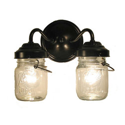 n/a - Vintage Clear Canning Jar Double Sconce Light, Antique Black - The beautiful glow of the light through a pair of vintage clear pint canning jar from days gone by is wonderful. This sconce is so fun with its original bail wires and the raised designs. Each jar carries its own history and can vary in 'age' marks, brand, graphics and more.