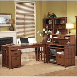 Kathy Ireland Home by Martin Furniture - Mission Pasadena 4pc L-Shaped Desk - 42 - Set includes Hutch, Credenza, Desk and Corner Table
